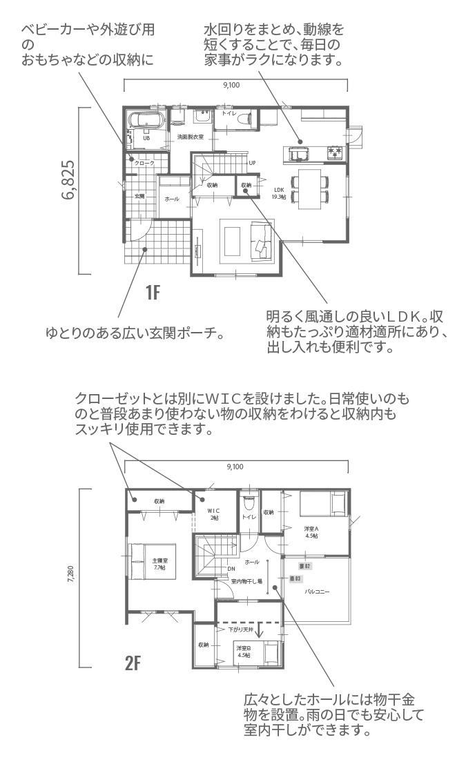 1階図面:1F床面積:52.17㎡ 2階図面:2F床面積:47.61㎡